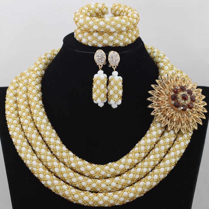 Beste Verkauf Nigerianischen Hochzeits Afrikanische Perlen Schmuck-Set Gold Korallen Afrikanischen Kostüm Frauen Schmuck Set Freies verschiffen WA047