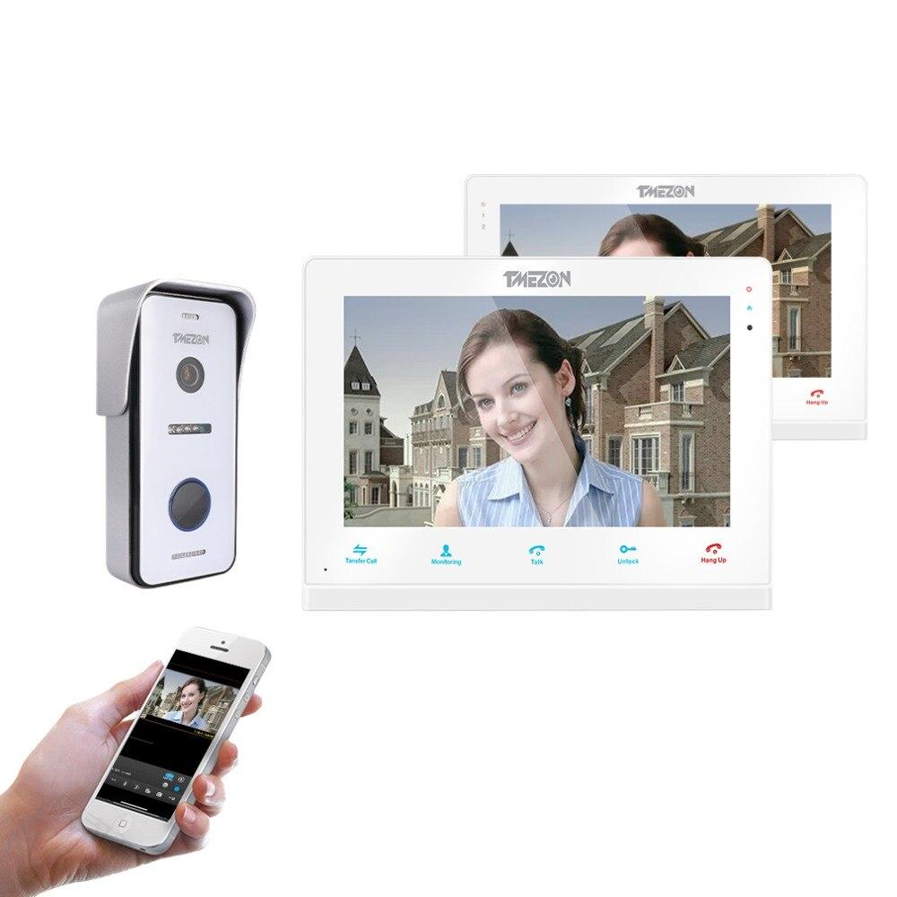 TMEZON Sans Fil/Wifi Smart IP Vidéo Sonnette Interphone Système, 10 pouce + 7 pouce Écran Moniteur avec 1x720 p Filaire Porte Téléphone Appareil Photo
