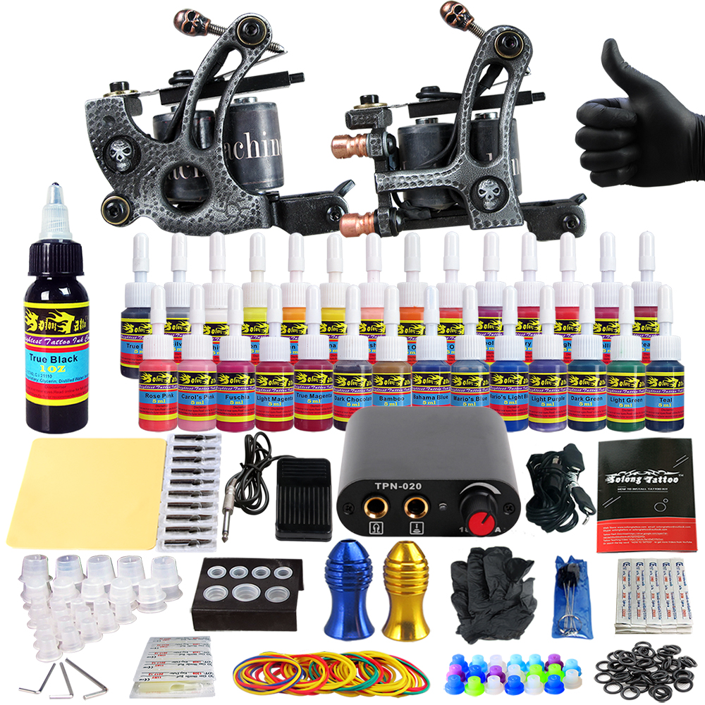 Solong Tattoo complete professional 2 tattoo Machine Guns set Tattoo Kit 28 Inks Needle Grips power supply TK204-27 europe god of darkness robert recommend gp self lock grips gp3 professional tattoo artist grip