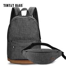 TINYAT Men Canvas Backpack School Casual Laptop Backpack Gray Composition Bags Leisure Male Waist Belt Bag