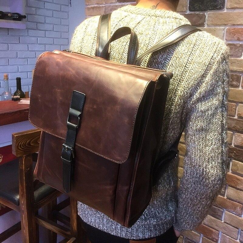Tidog сумасшедшая лошадь кожаный рюкзак мода компьютер рюкзак
