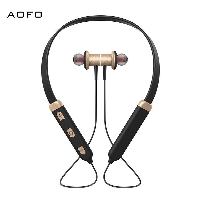 AOFO Bluetooth Headphones Wireless Earbuds 4.1 Magnetic Earphones Lightweight Mic in-Ear Sports
