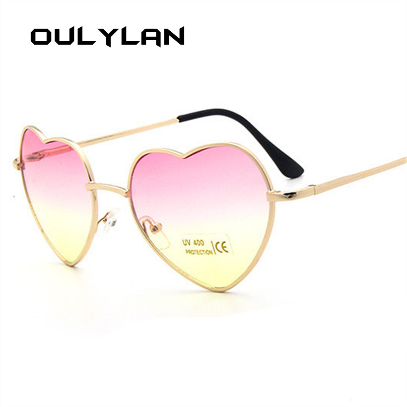 Oulylan Mirror Sun Glasses Women Classic Love Metal Sun Glasses Ladies Vimtage Shaped Reflective Female Heart Sunglass UV400