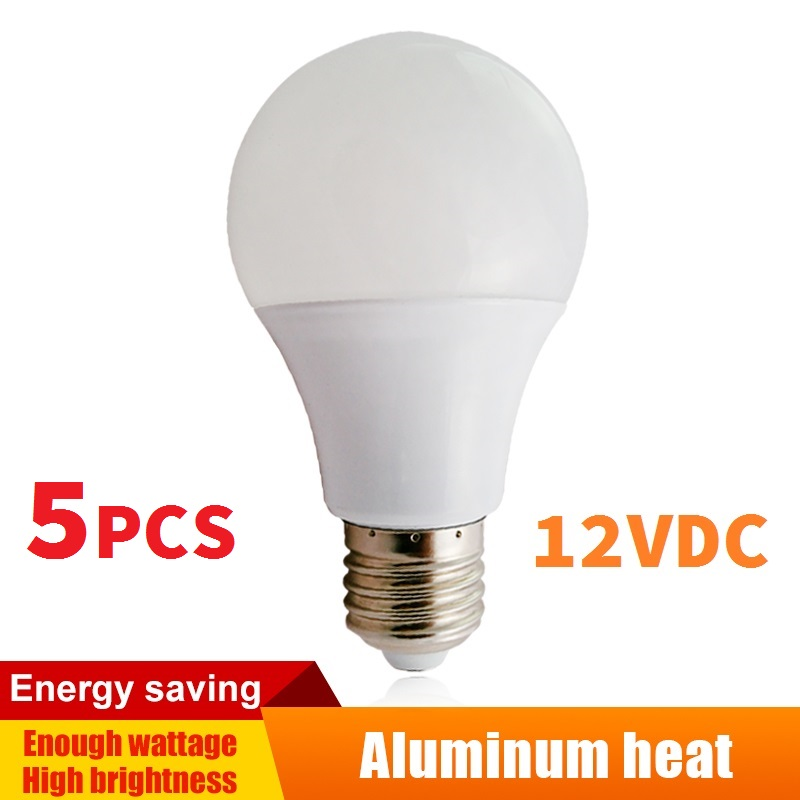 5pcs 12v DC LED Lamps Aluminum Board Bulbs E27 Light Coo White Lighting Interior LED Globe White PC shell 3w/5w/7w/9w/12w/15w
