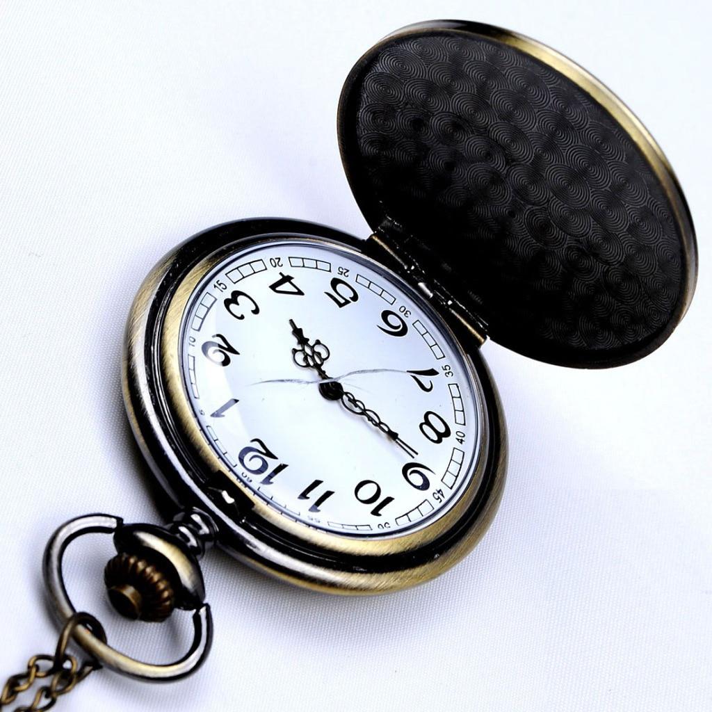 цены на Cindiry Retro Steel Case White Analog Relogio Masculino Fob Key Pendant Male Clock Pendant Fob Chain Men Quartz Pocket Watch P15 в интернет-магазинах