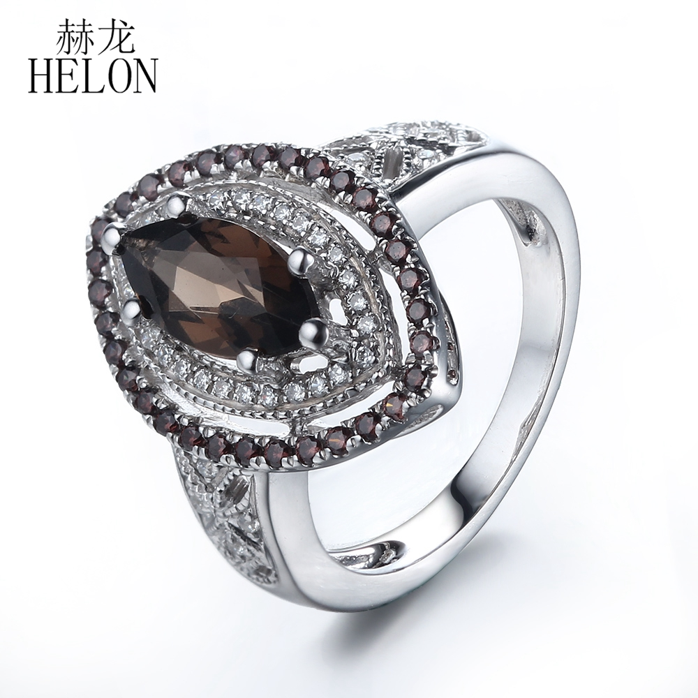 HELON Solid 14k White Gold Marquise 1ct Smokey Quartz & AAA Graded Cubic Zirconia Engagement Ring For Women Gift Trendy Jewelry цена