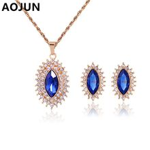 2016 Fashion 2 pieces Jewelry Sets For Women White Blue Crystal Necklace Earrings Jewellery Set Bridal Wedding Accessories A292