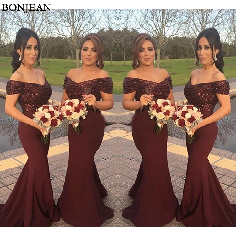 Burgundy Country Bridesmaid Dresses Mermaid Sequins Top Satin Skirt Off The Shoulder Wedding Party Maid Of Honor Dresses