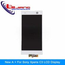 Original Display LCD Touch Screen Substituição Digitador Assembléia Para Sony Xperia C3 D2533 D2502 LCD Branco frete grátis