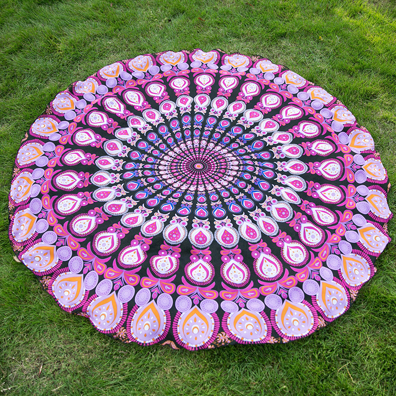 Yoga Towel Function: Multi Color Mandala Round Beach Towl Cushion Yoga Mat