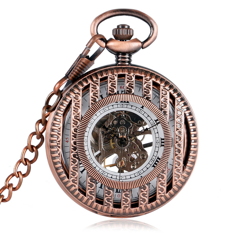 Rose Gold Stripe Design Hand Winding Mechanical Pocket Watches for Men Women Father Mother Retro Pendant Watch Gifts Item Chain unique smooth case pocket watch mechanical automatic watches with pendant chain necklace men women gift relogio de bolso