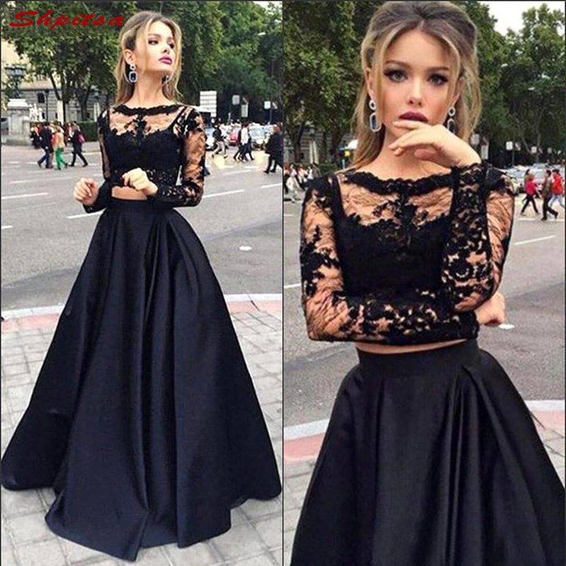 Black Mother Of The Bride Dresses For Weddings Lace Long Sleeve Evening Groom Godmother Dresses