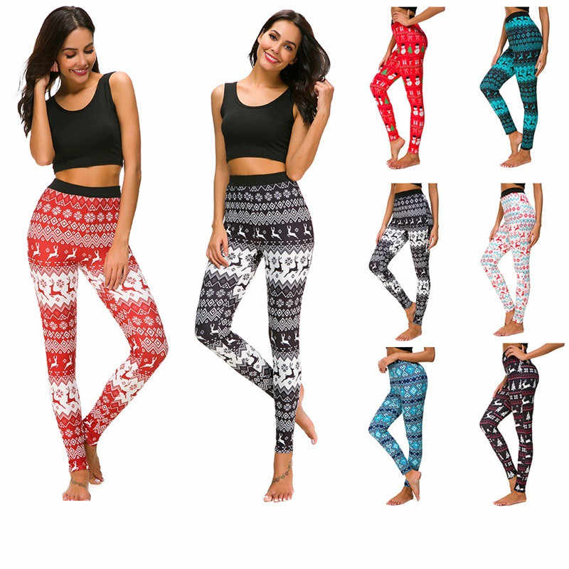 2cf8ad1842c387 Female Put Hip Elastic High Waist Legging Breathable Merry Christmas Pants  Plus size S-6XL