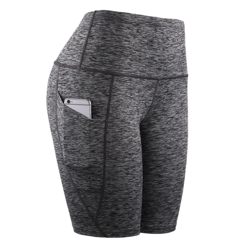 <font><b>Women</b></font> Middle Waist Yoga Slant Pocket Running Training <font><b>Sports</b></font> Quick-drying Tight-fitting Stretch Fitness <font><b>Shorts</b></font> image