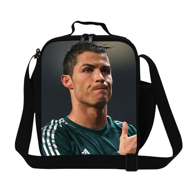 Cristiano Ronaldo soccerly lunch bags for boys,cool adults messenger lunch container for office,men small cooler bags with staps