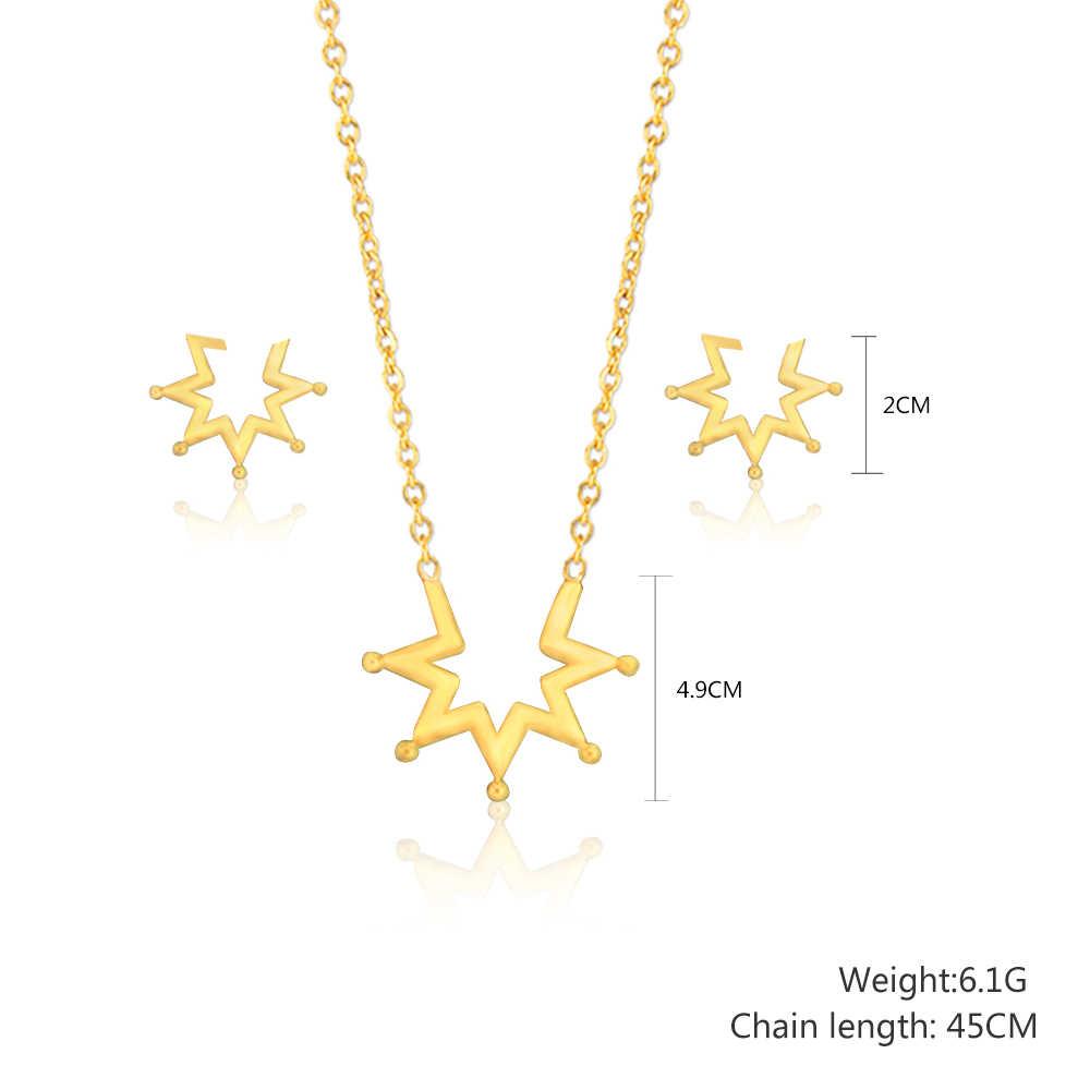 אופנה כלה דובאי זהב צבע כוכבים תכשיטי סטי אביזרי תכשיטי טיטניום פלדת עגילי שרשרת שרשרת סט לנשים