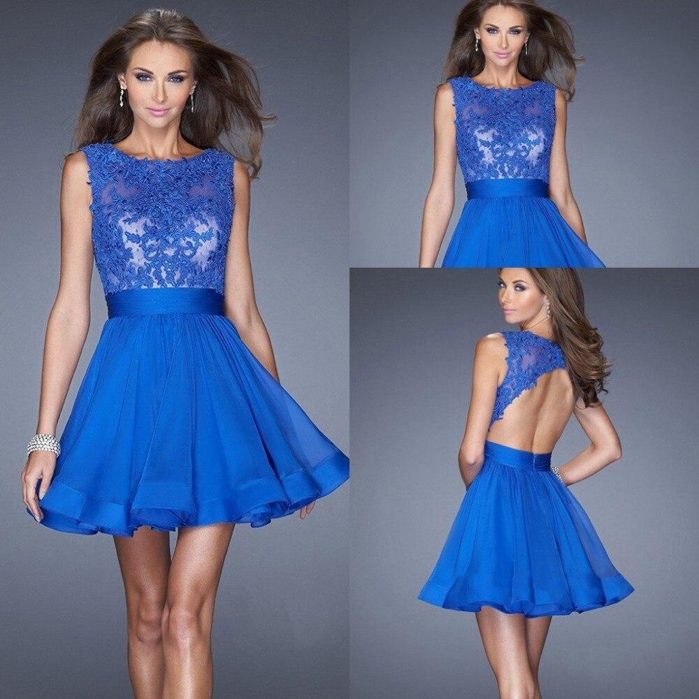 Hot Selling Royal Blue Short Prom Dresses 2015 Scoop ...