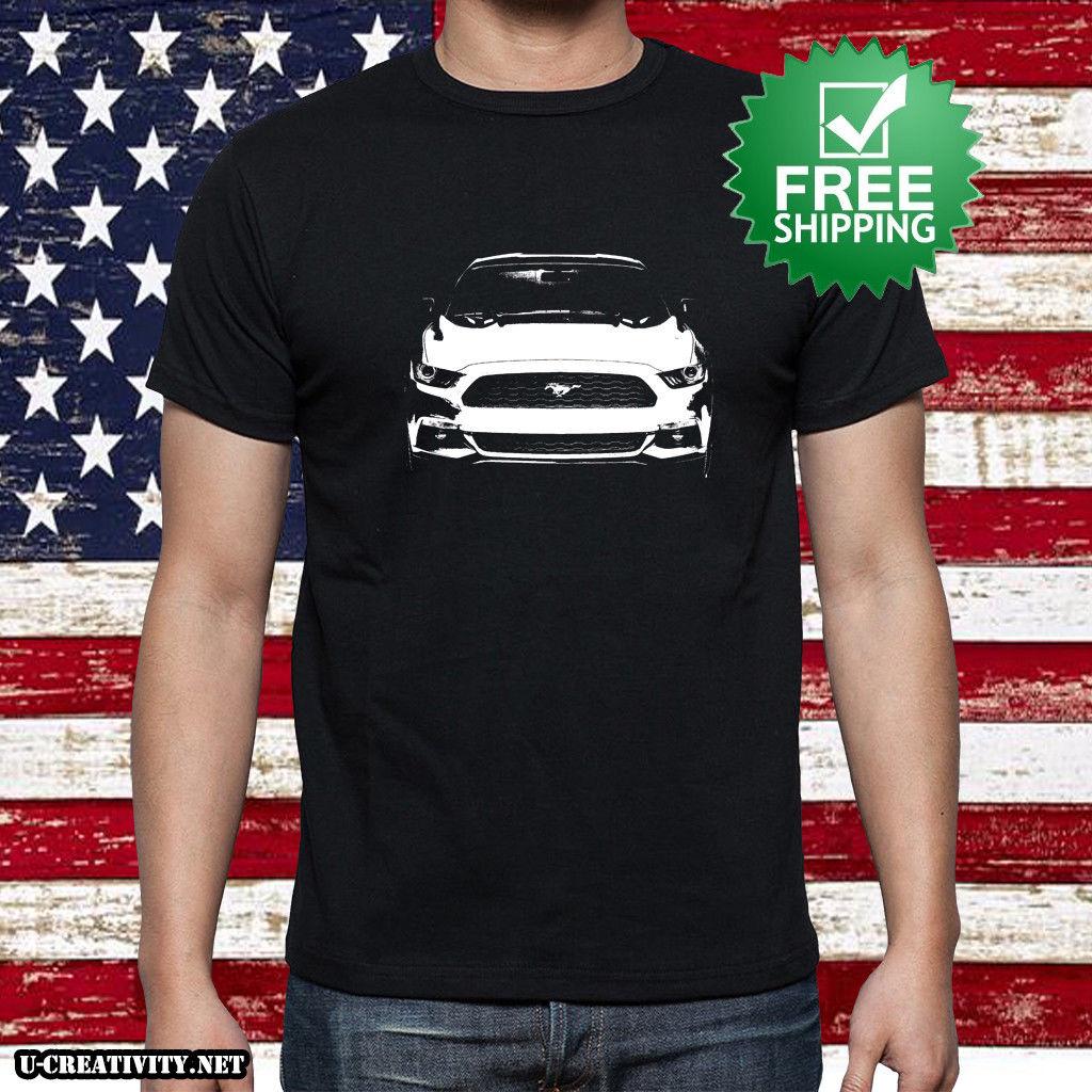 Ford Mustang USA Black T-shirt Men/'s Cotton Mustang USA Flag Logo NEW