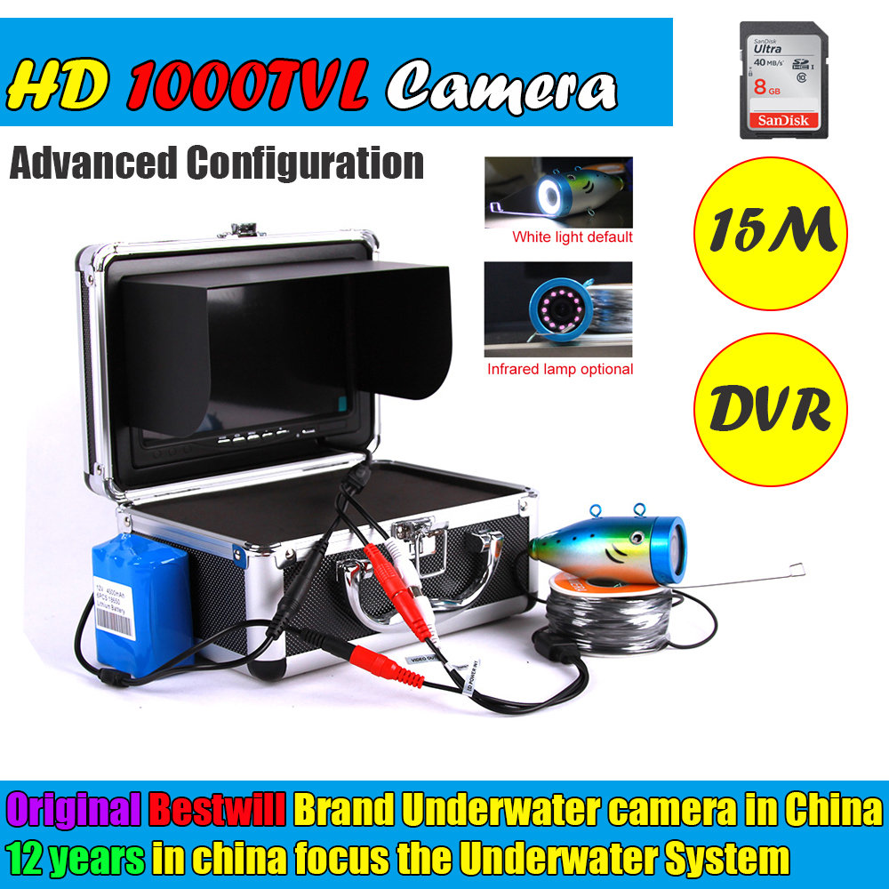 2017 New Fishfinder Underwater Camera Kit Mini Fish Finder Hd 1000tvl Ice Fishing Portable Night For Vision With Dvr 15m Cable