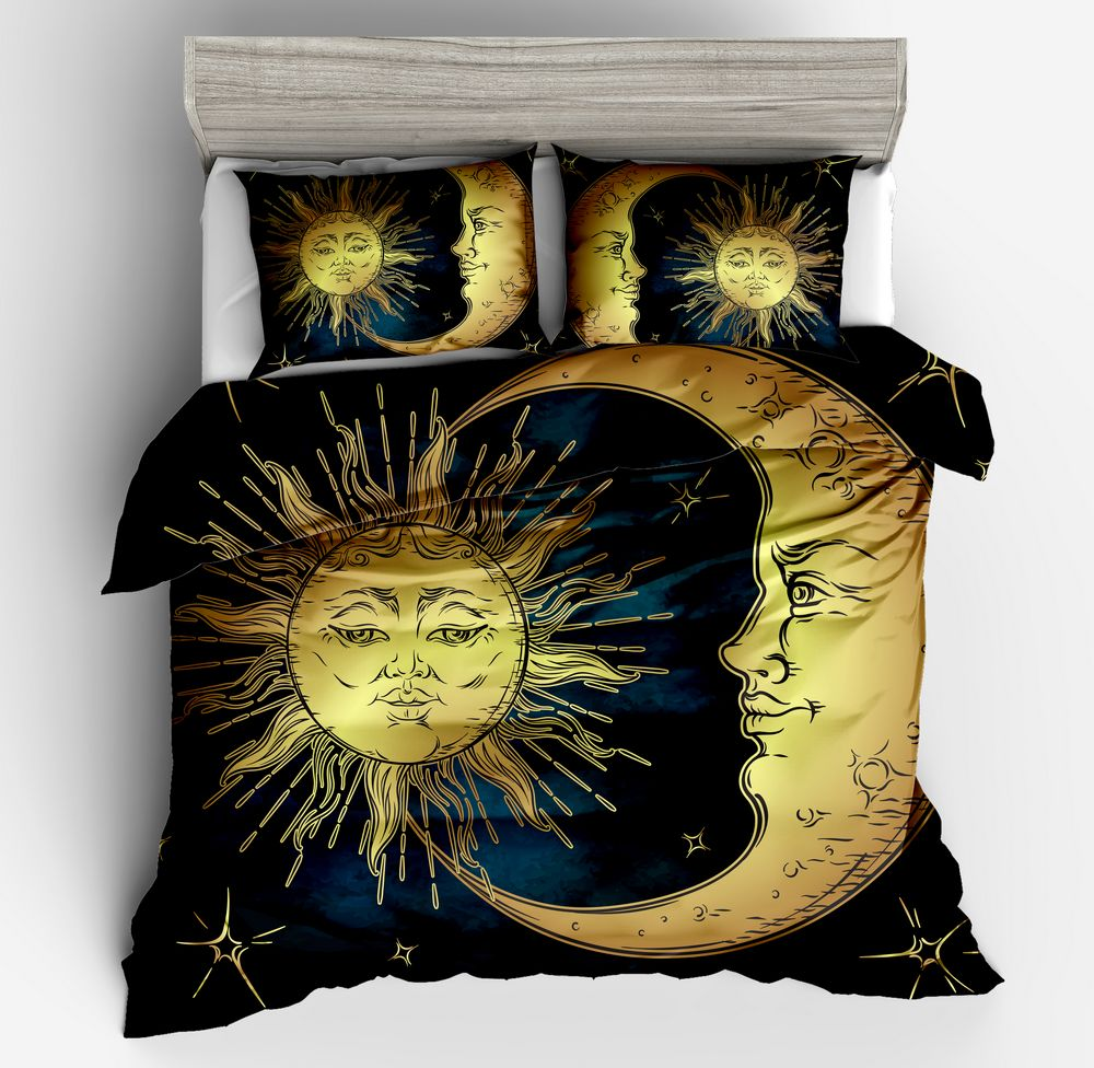 Fashion Beautiful Stars 3D yellow black blue  Sun Moon Duvet cover pillowcase Twin full queen king size high quality bedding setFashion Beautiful Stars 3D yellow black blue  Sun Moon Duvet cover pillowcase Twin full queen king size high quality bedding set