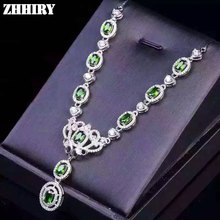 Genuine diopside pendant necklace natural green gem stone 925 sterling silver Platinum gold plated women jewelry
