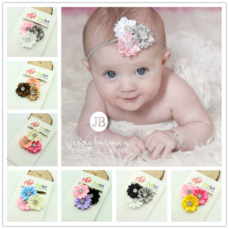Baby Headband Ribbon Handmade DIY Toddler Infant Kids Hair Accessories Girl Newborn flower floral crystal Turban Elastic 20pcs lot girl hair bow headband for newborn infant toddler hair accessories diy grosgrain ribbon bow elastic hair bands