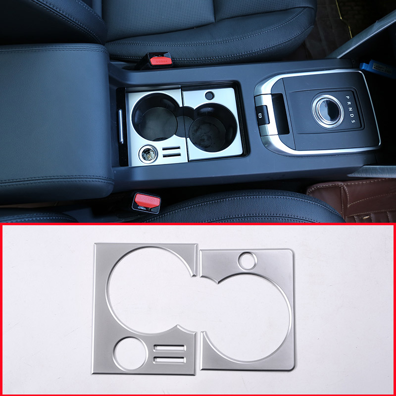 For Land Rover Discovery Sport 2015-2018 ABS Matte Silver Gloss Black Car Interior Cup Holder Frame Cover Trim Accessory for LHD