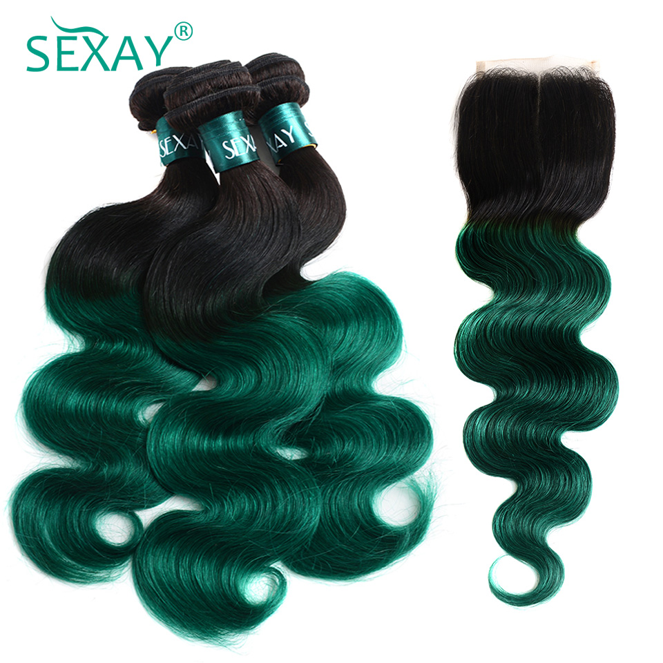 Sexay Ombre Bundles With Closure 1B/Green Two Tone Ombre Human Hair Weave Brazilian Body Wave 3 Bundles Pack With Lace Closure