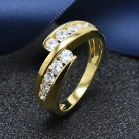 Hutang women's yellow gold clear cubic zirconia ring solid 925 sterling silver wedding engagement fine jewelry gift for her