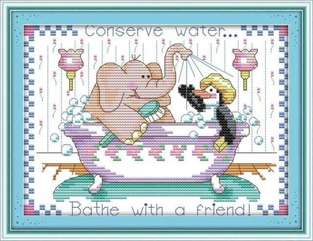 Joy Sunday Cartoon Style Bath With Friend Simple Cross Stitch