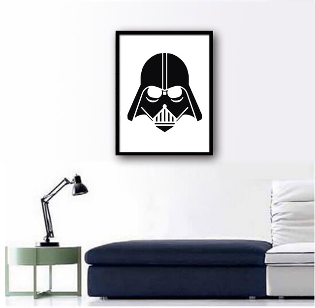 A4 Original Watercolor Star Wars Darth Vader Helmet Mask Art canvas Print Poster , Pop Movie Wall Pictures