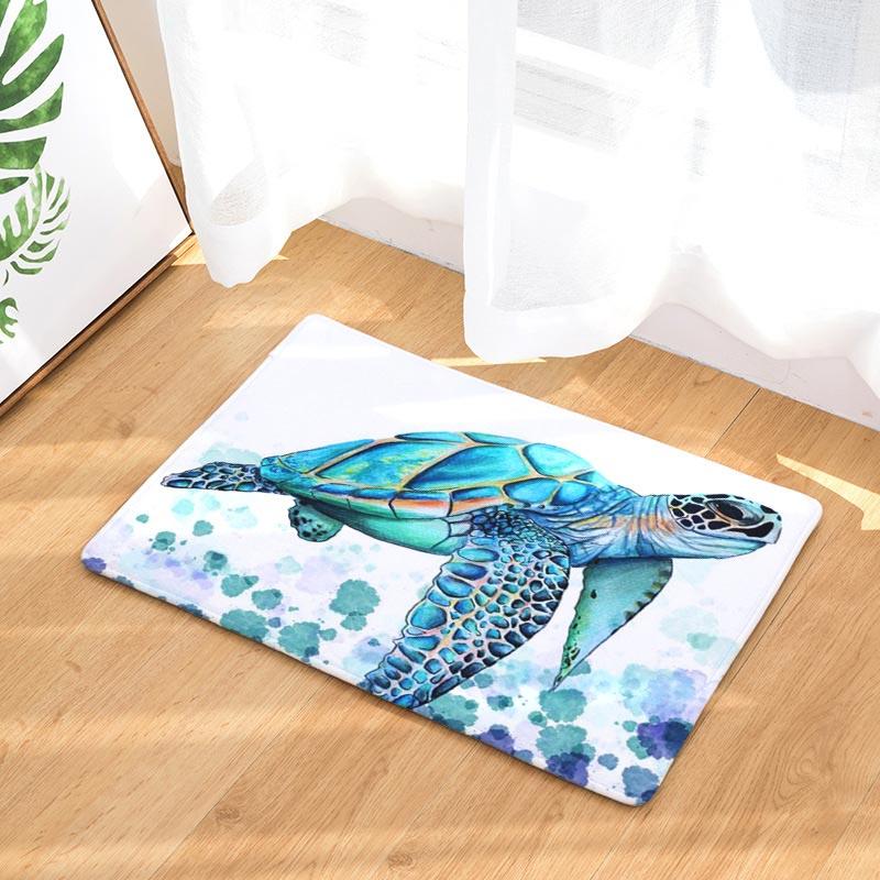 2017 Modern Colorful Sea Turtle Painting Carpets Anti Slip