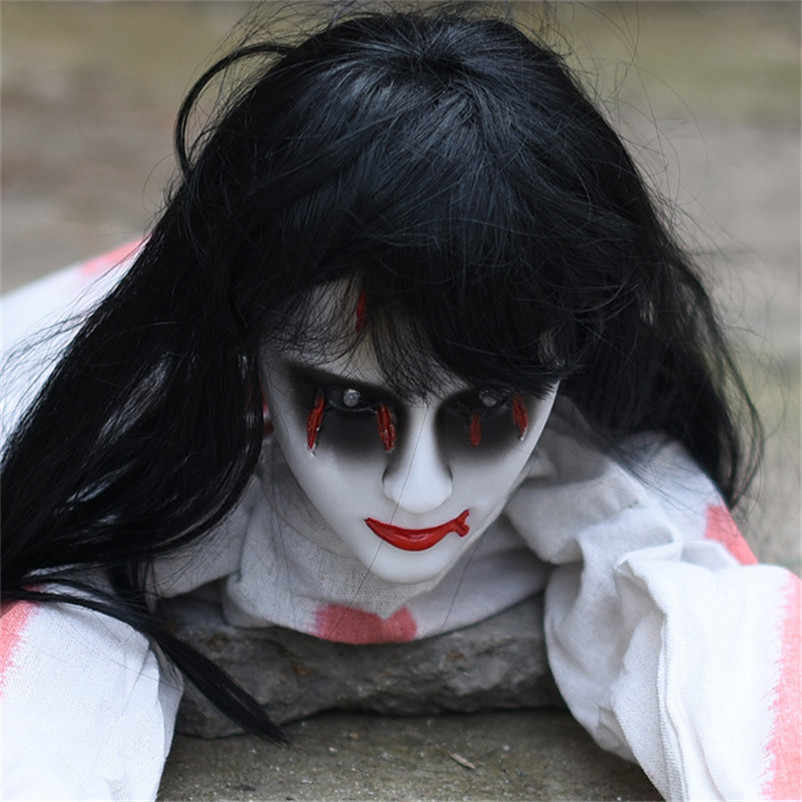 Rastejando do dia das bruxas Fantasma Horror Halloween Decoração Da Casa Da Menina com Voz Assustadora com Os Olhos Brilhando Electirc Hounted Movendo Toy Boneca