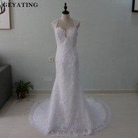 Casamento 2018 Stella York Mermaid Lace Wedding Dress Open Back Long Train Appliques Vintage Bride Dresses