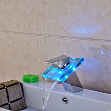 Deck Mounted LED 3 Color Changing Glass Waterfall Bathroom Faucet Single Lever Vessel Sink Mixer Taps