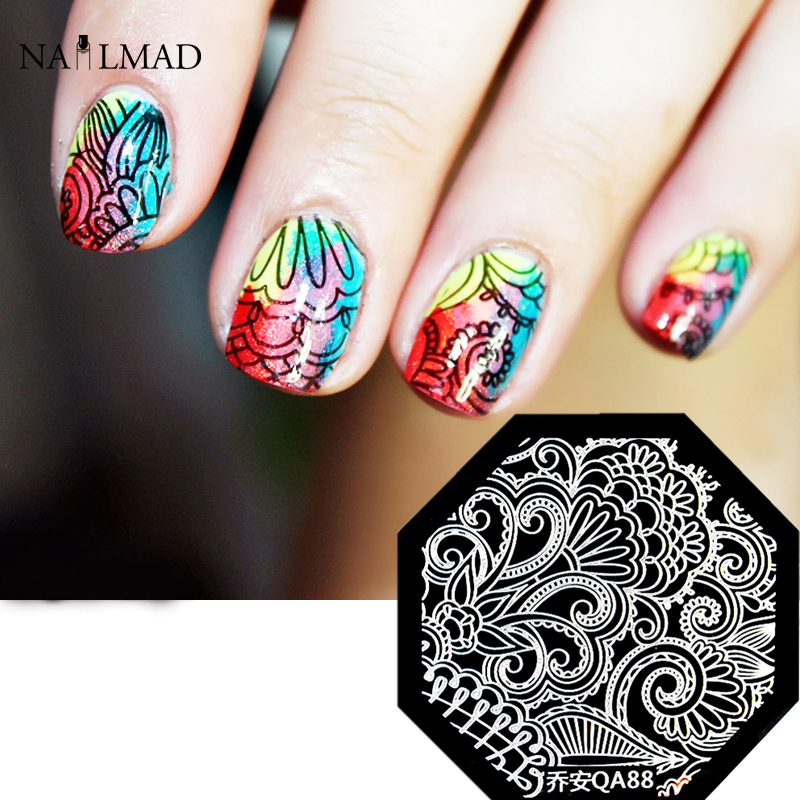 Floral Vine Nail Art Stamp Template Quirky Arabesque Mandala ...