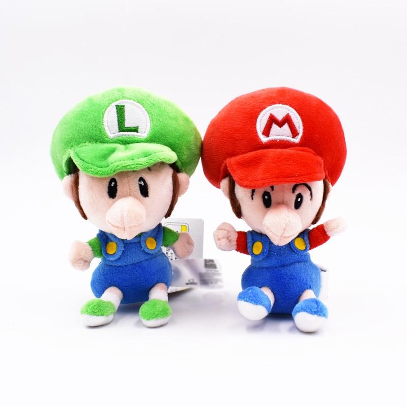 14cm 2 Styles Cute Super Mario Luigi Soft Plush Baby Red Green MARIO BROS Doll
