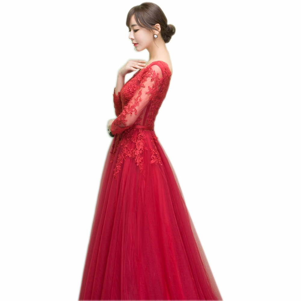 Image 3 - NOBLE WEISS Dark Red Appliques Tulle Long Evening Dresses 2019 