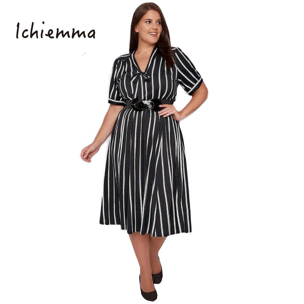 Ichiemma 2017 Plus Size Striped Print Women Dress Short ...