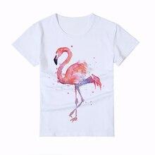 Kid Summer comfortable printed flamingo T-shirt Boy/Girl/Baby t-shirts Printing Flamingos Fashion animal Childrens t shirt Y4-3