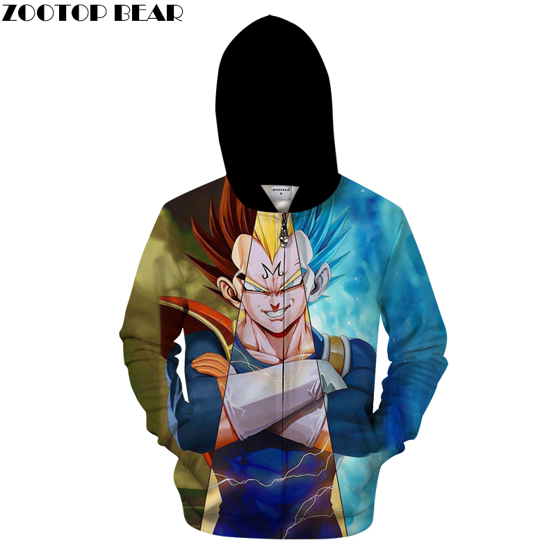 Goku 3D Zip Hoodie Men Zipper Hoody Dragon Ball Tracksuit Anime Sweatshirt LongSleeve Streatwear Pullover DropShip ZOOTOPBEAR