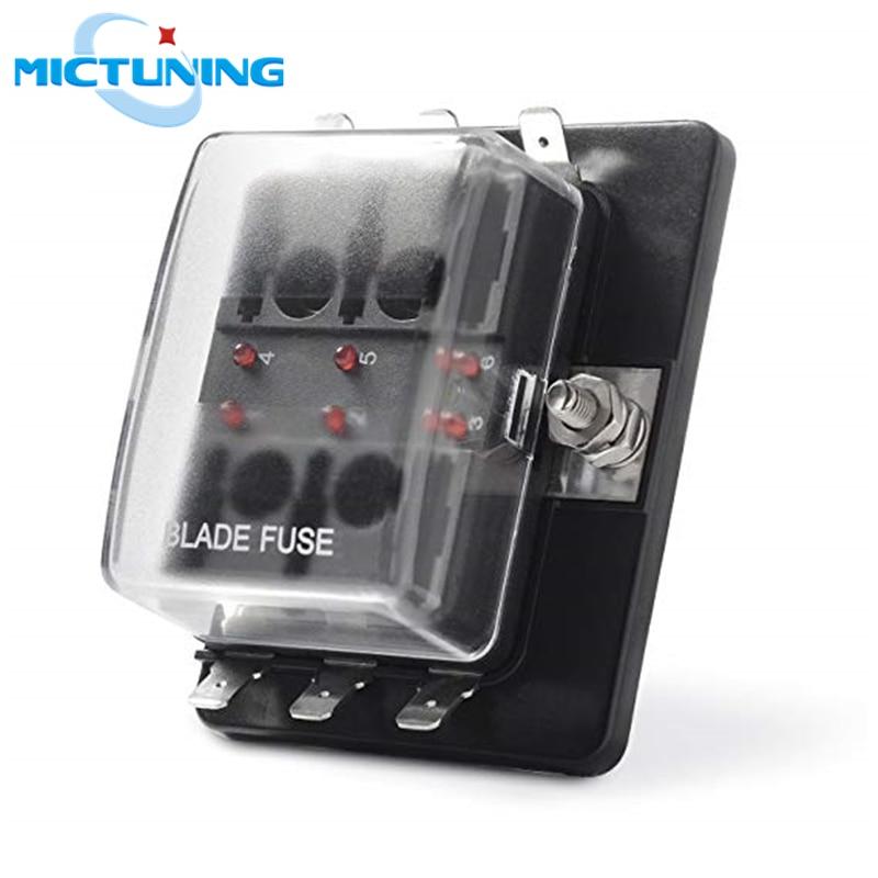mictuning 6 way atc ato lamina fusivel auto universal titular box 6 circuito fusivel bloco com