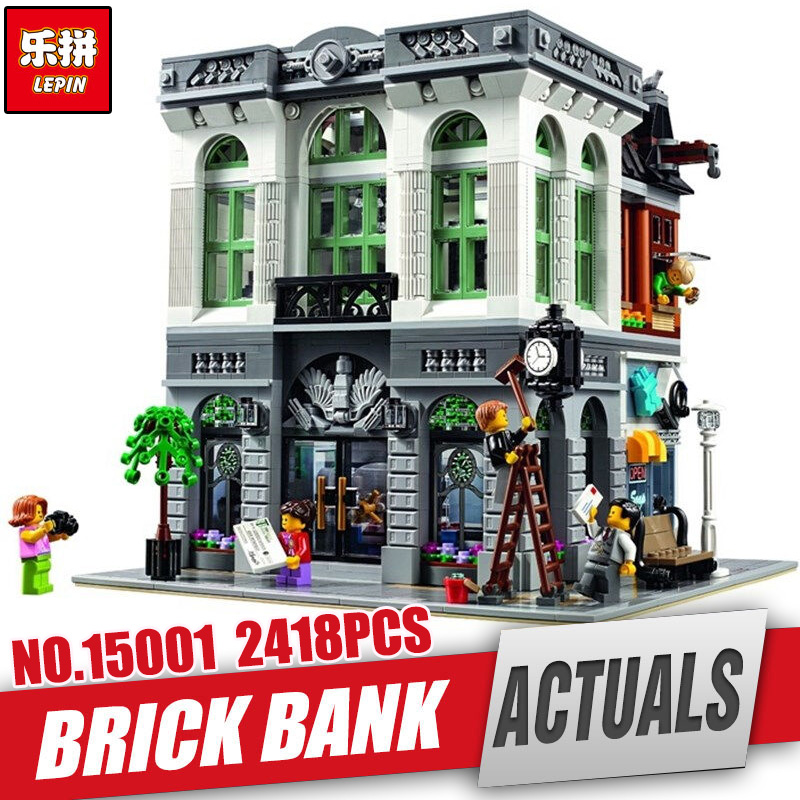 LEPIN 15001 2413Pcs Brick Bank Model Educational Building Kids Blocks Bricks legoing Toy Compatible With 10251 for Gift