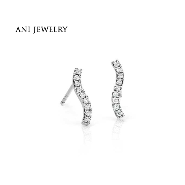 c08327662 ANI 14K White Gold Women Stud Earrings 0.11 CT Certified I/SI Real Natural Diamond  Earring Fine Jewelry Customized aretes