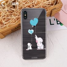 CASEIER Cute Soft Phone Case For iPhone X 3D Relief Silicone TPU Cases 7 8 Plus Lovely Cats Funda Capinha Accessories