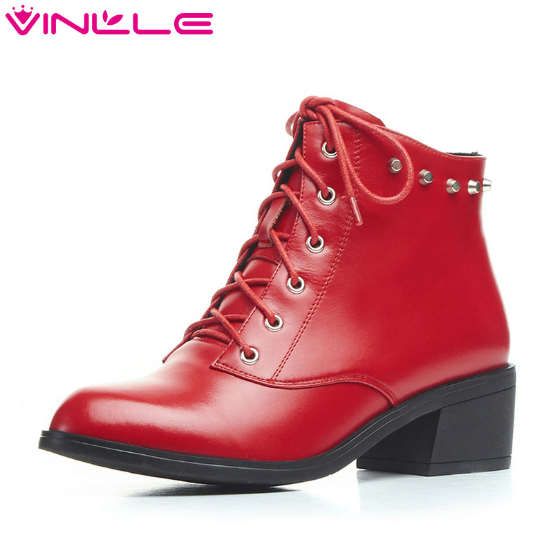 VINLLE 2018 Woman Ankle Boots Square Low Heel Women Shoes Pointed Toe Genuine leather Lace Up Ladies Motorcycle Boots Size 34-39 sfzb new square toe lace up genuine leather solid nude women ankle boots thick heel brand women shoes causal motorcycles boot