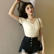 2019 Women V Neck Button Knitted T-Shirt Summer Casual Short Sleeve Solid Color T Shirt Fashion Slim tee shirt femme