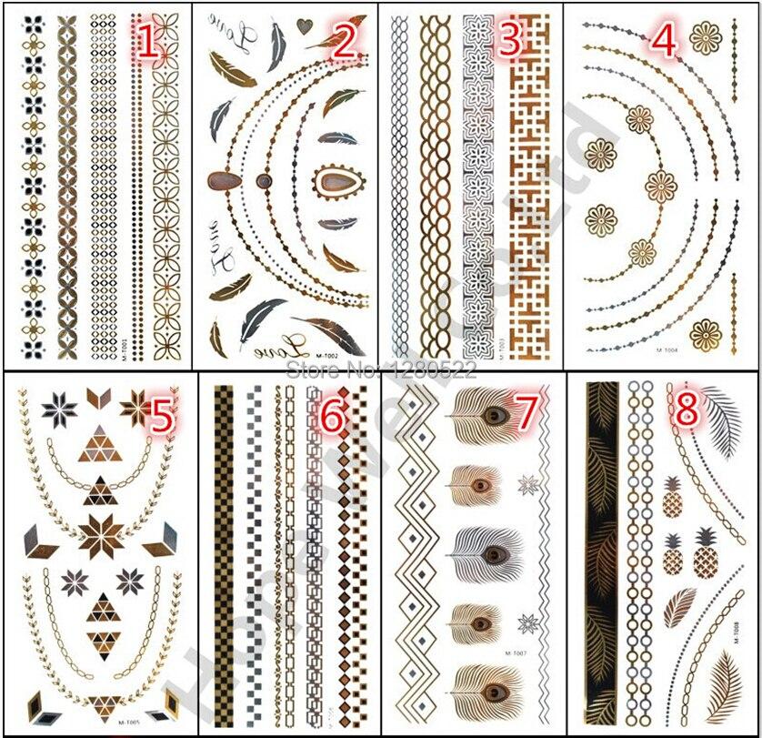 12 listů / lot Metallic Flash Tattoo Zlato Stříbro Dočasné tetování Geometrie Pampeliška Design Body Art 12 Modely Vyberte si Tatuagem
