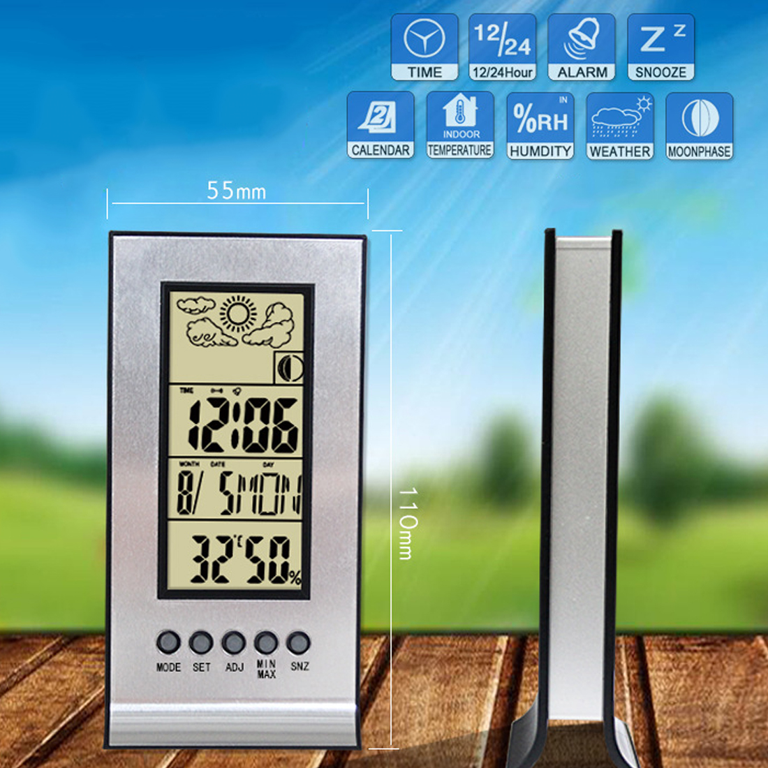 new wireless weather station with wireless sensors meteo. Black Bedroom Furniture Sets. Home Design Ideas