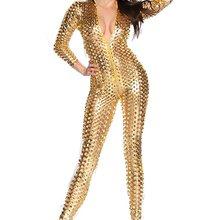 LZCMsoft женский сексуальный комбинезон с дырочками, цельный Металлический обтягивающий стрейч боди, нижнее белье для стриптиза, одежда для ночного клуба, сценический костюм